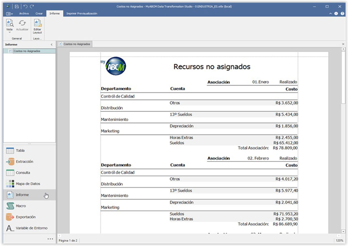 Componente Data Transformation Studio